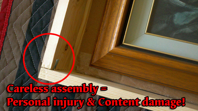 staple exposed crate can damage oil painting of injure handlers