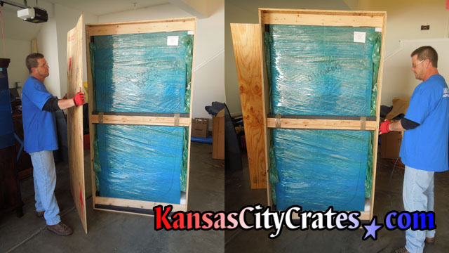 Two views of Antique furniture fully wrapped and packed inside vault like crate.