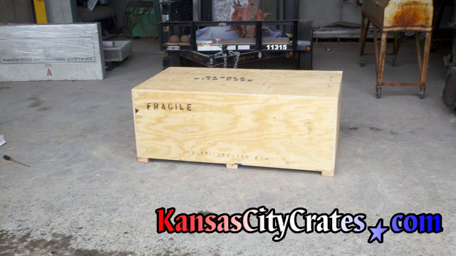 Two radiation detection systems in export crate with forklift access.