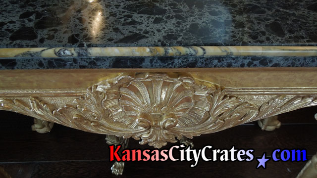 Fine marble top on table base.