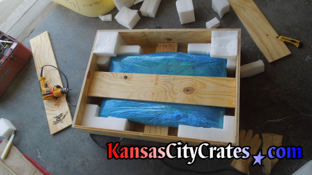 Special shock resistant crate built for fragile marble top removed from washboard at home in Kansas City MO  64157