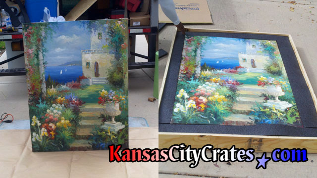 Frameless oil painting inside foam lined export crate.