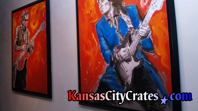 Oil paintings of Keith Richards and Ron Wood by Ronnie Wood hanging at mansion in Mission Hills KS before crating.