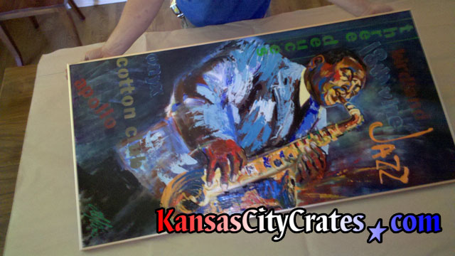 Tribute to Jazz oil painting ready for crates.