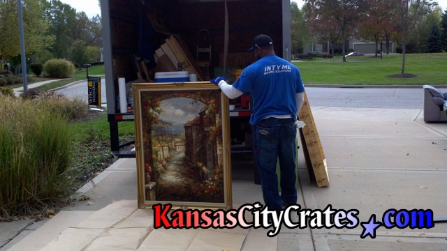 On-site cratiing of oil painting in Kansas City