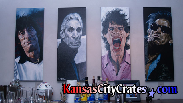 4 Original oil paintings of The Rolling Stones by Sebastian Kruger for wood crates.