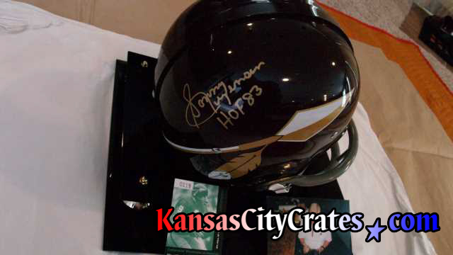 Autographed by Sonny Jurgensen Hall of Fame 1983 getting wrapped for packing into export crate.