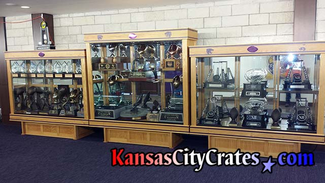 Trophy case at Big 12 Conference football team packed and crated by KansasCityCrates