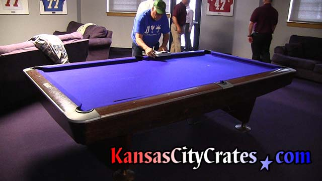 Pool table in players lounge at football complex measured for slate crates