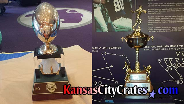 Two views of trophies won by Big 12 Conference Football team