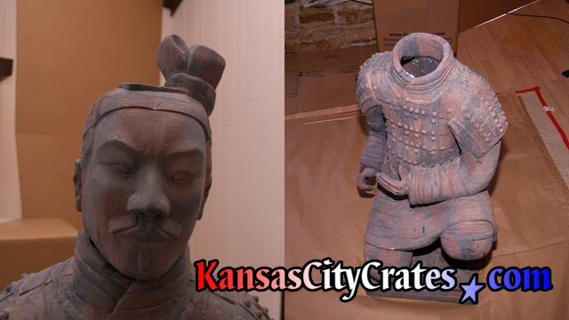 Qin Shi Huang Terracotta Army Archer statue ready for packing.