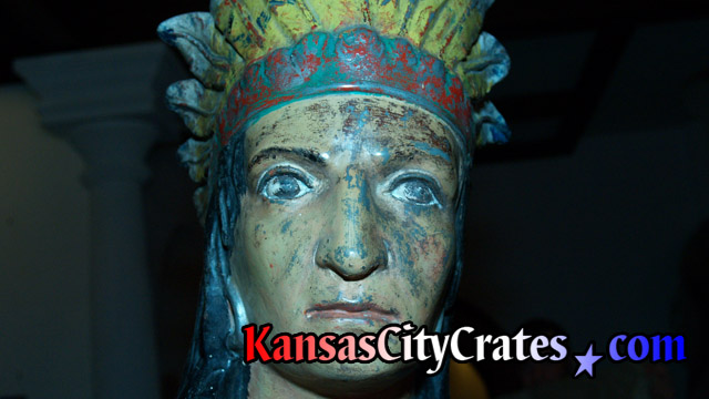 Hand painted American Indian statue before wrapping for indestructible box crate at mansion in Kansas City MO  64129