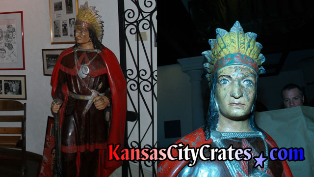 Two views of antique American Indian Chief statue packing in crate at Kansas City Mansion.