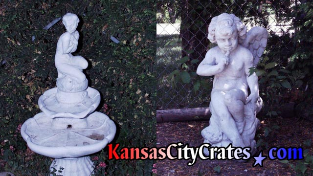 Fountain of Japanese princess at Sento bath with angel watching at family pool in Kansas CIty for crating.