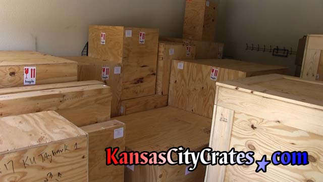 Garage full of nineteen solid wall crates of taxidermy collection