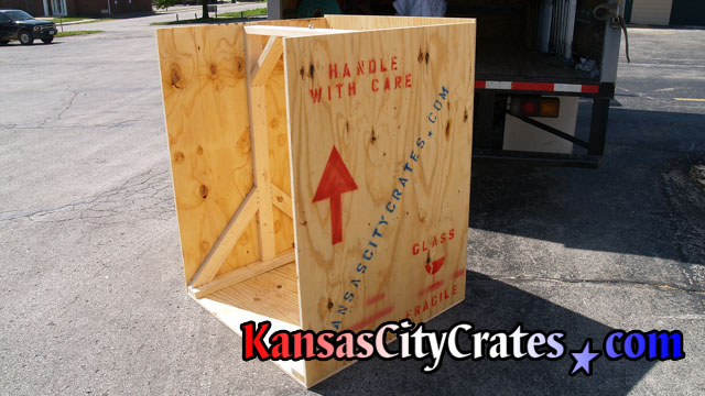 Large wood crate for heavy crystal chandelier