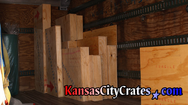Export crates loaded into crating truck for delivery to packing job at home in Leawood KS  66206