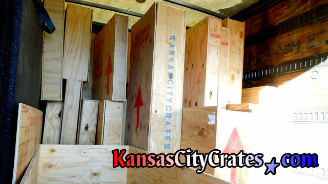 24 Wood crates pre-built loaded into crating truck for on-site packing at home in Overland Park KS  66204