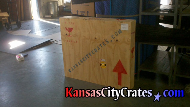 On-site crating for business sign at shipping terminal of moving company in Kansas City MO
