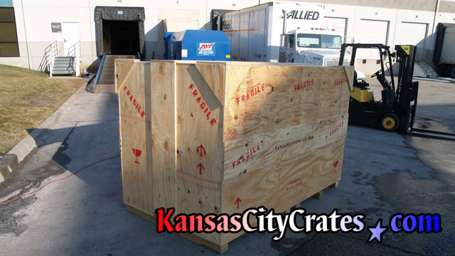 Custom built on-site large wood crate at van lines terminal in Kansas City MO