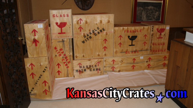 Indestructible wood box crates on flooring protection at home in Kansas City.