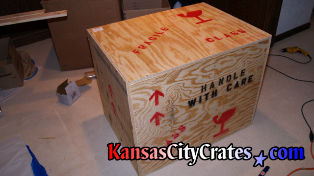 Sealed crate containing AFL Opus at Arrowhead Stadium in Kansas City MO