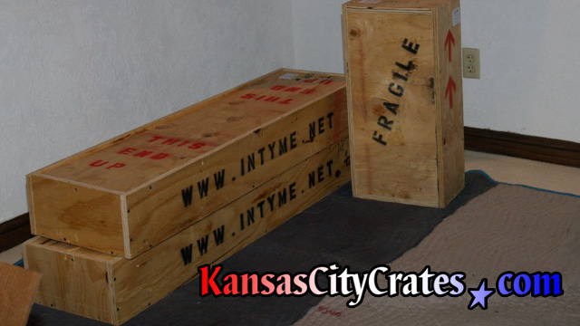 Packed crates staged on flooring protection at home of private art collector in Kansas City MO