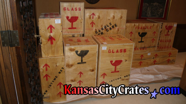 Packed crates staged for loading at art collectors home in Kansas City MO