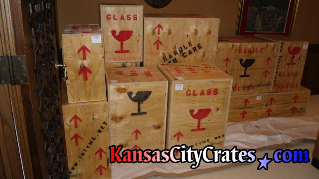 Crates sitting on flooring protection during stadium rennovations at Arrowhead Stadium in Kansas City MO