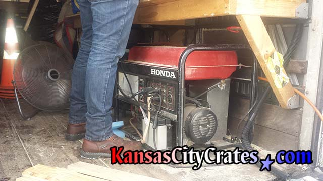 Honda generator powers equipment on crate truck to allow independant operation at any address
