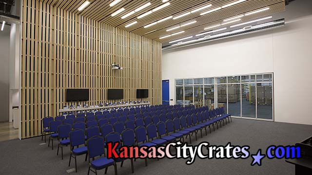 Eye level view of conference and training room using pallets built by Kansas City Crates for HELIX Architecture + Design