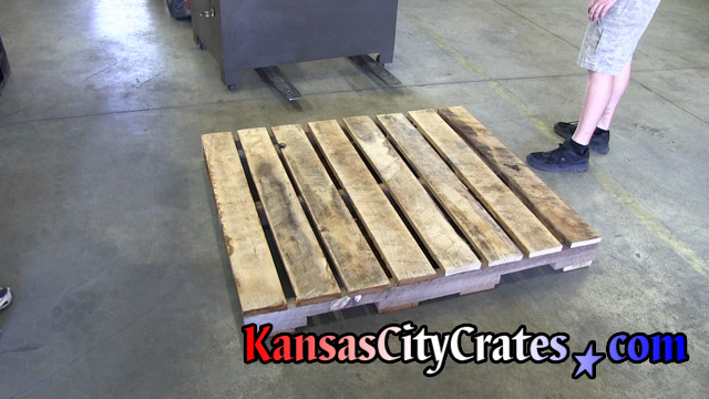 Hardwood oak pallet built for machinery shipping to California