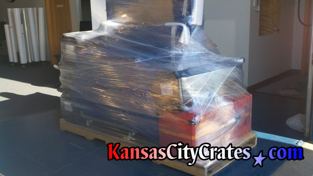 Custom pallet with trade show goods stretch wrapped in place for shipment to Las Vegas NV