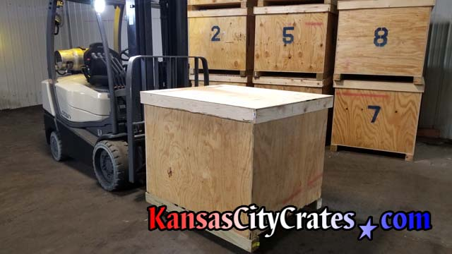 Crown C5 internal combustion forklift is used to move bulk containers at Kansas City Crates
