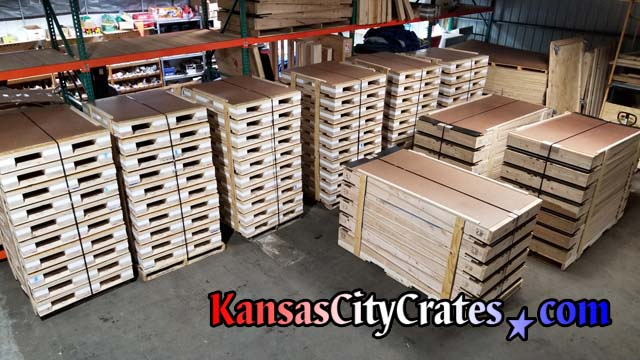 Overhead view of 60 shock pallets and 35 ramps ready for shipping