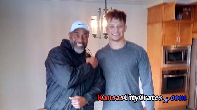 Picture taken inside the home of Patrick Mahomes with crate builder Sean Ray after winning the 2018 NFL MVP and Offensive Player of the Year Awards