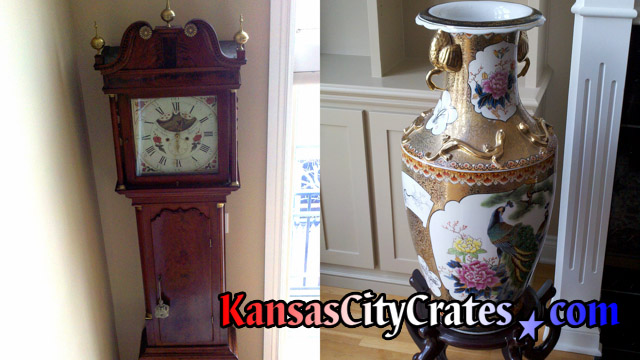 Antique clock and rare vase before crating to Russia