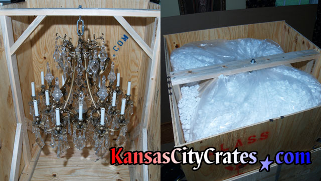 Vanderbilt gold and crystal chandelier crated for transport