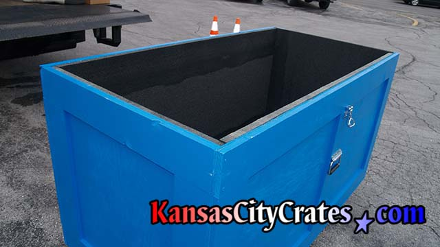 Lid seals cart from outside elements when transporting or storing corporate display materials