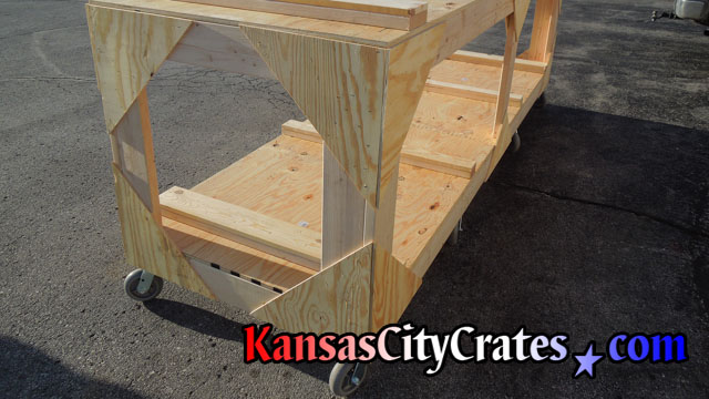 Custom built wood utility cart