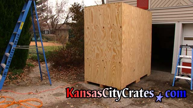 Top of crate open showing bubble wrap lining at home in Lansing KS  66043
