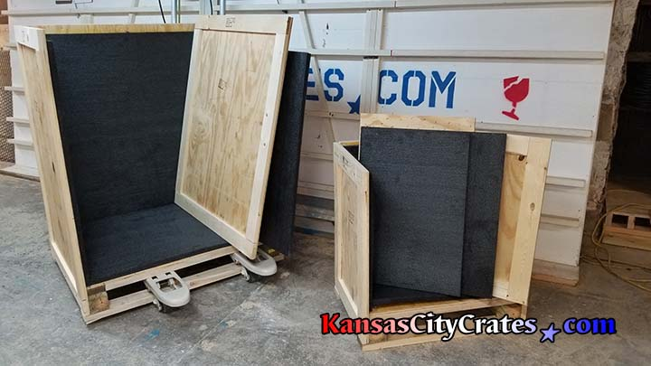 Heavily padded interior of solid wall wood crate at home in Bates CIty MO 64011